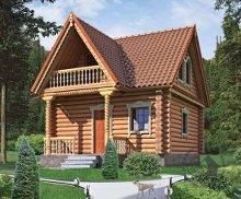 Дом с балконом, совмещенный с баней