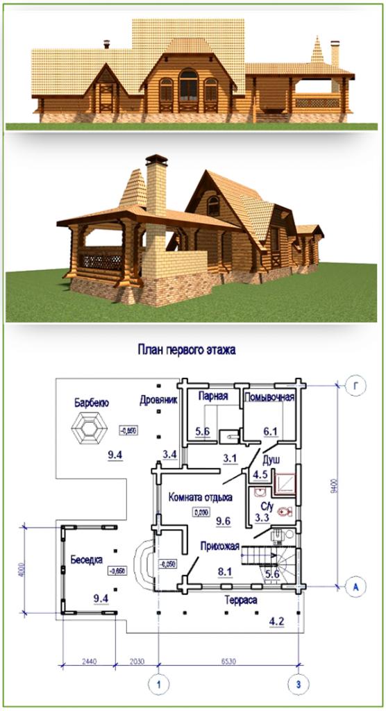 Проект небольшого домика с баней