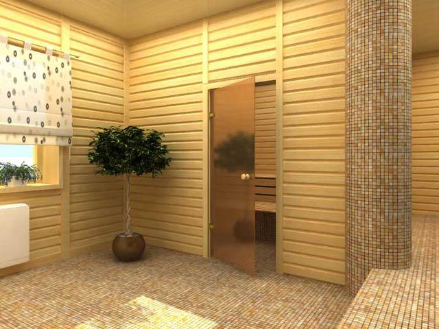 Стеклянные двери прекрасно эксплуатируются в бане