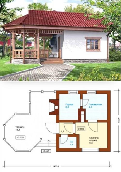 Основная постройка – баня.