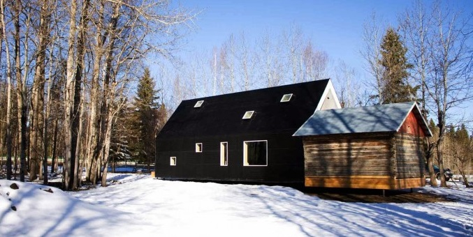 Warburg House in Alberta Canada, Black House in Snow, Remodelista