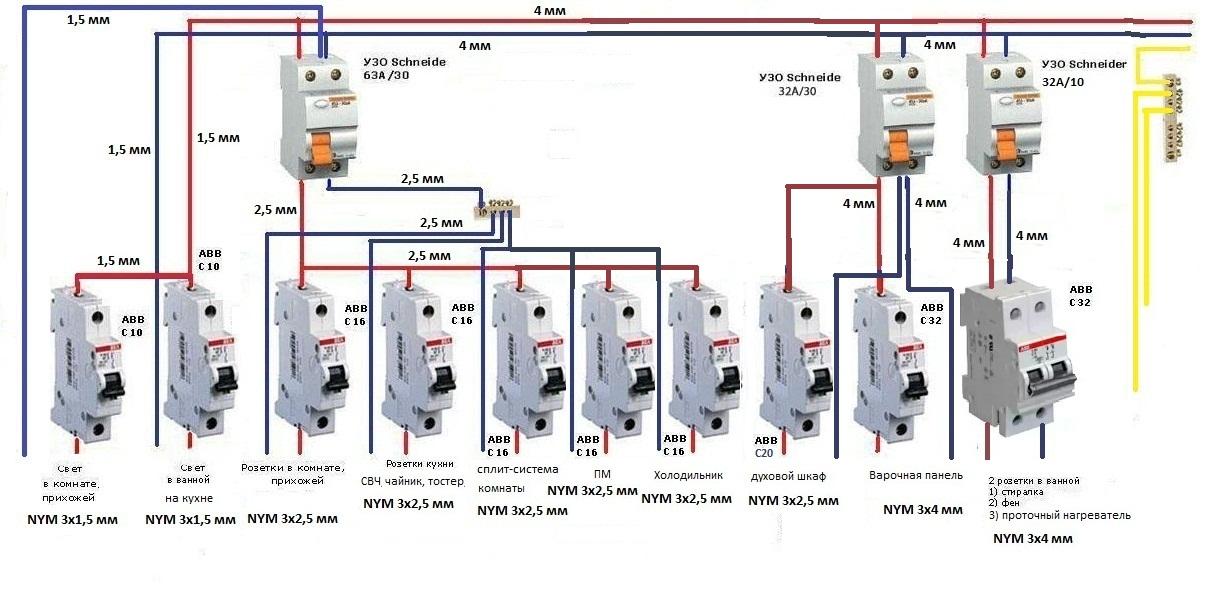 Как подключить автоматический выключатель схема подключения