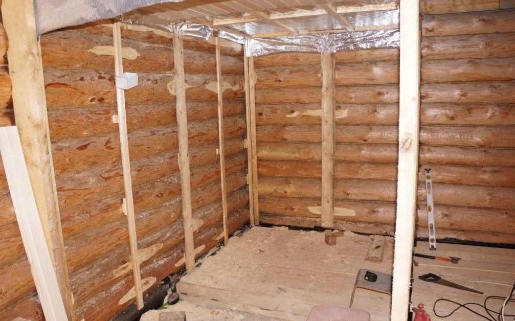 Подготовка стен бани под обшивку