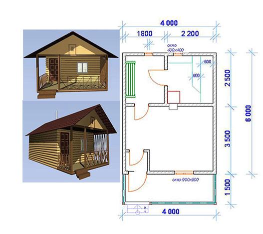 Схема бани размером 4,0 х 6,0 м. с открытой террасой