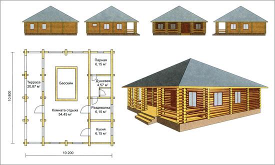 бани с большой комнатой отдыха и шатровой крышей