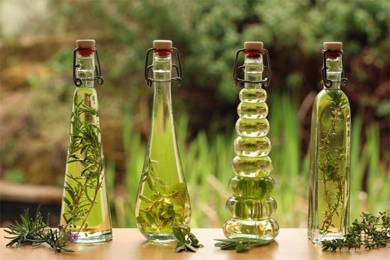 Backlit decorative bottles of herb infused oils with the herbs alongside.