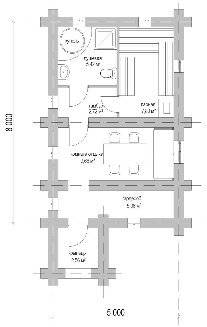 план бревенчатой