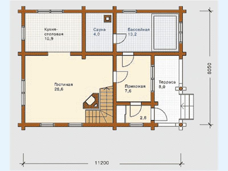 проект небольшого дома с баней