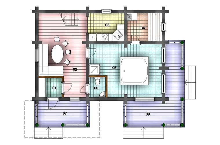 просторная баня фасад план 1эт