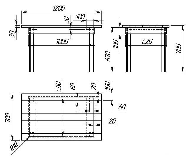 Эскиз простого стола для бани