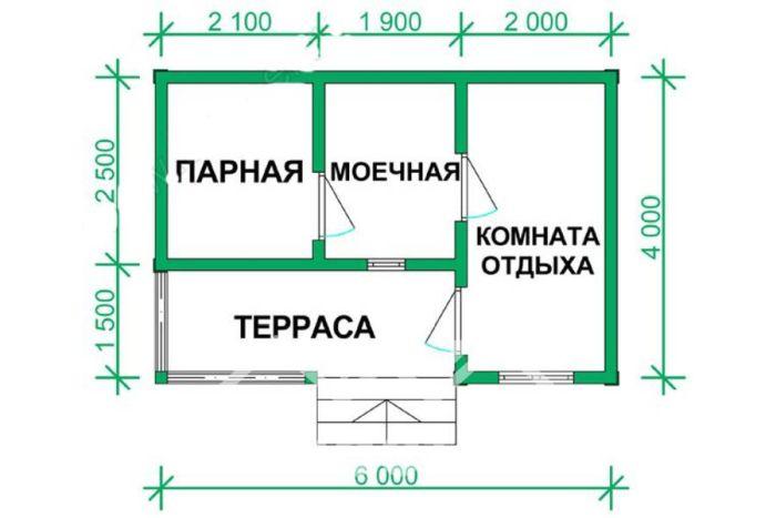 баня 4х6 проекты
