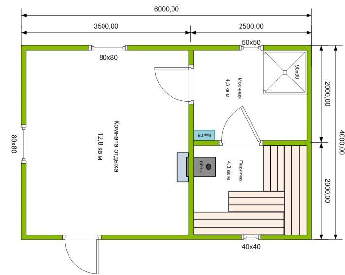 планировка бани 6х4 с комнатой отдыха